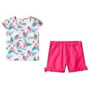 Guess Jungle Print T-Shirt och Shorts Set Rosa 6-9 months
