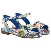 Dolce & Gabbana Majolica Print Patent Sandaler Blå 33 (UK 1)