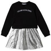 Calvin Klein Jeans Logo Tröjklänning Svart och Silver 4 years