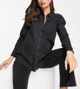 ASOS DESIGN Maternity – Svart skjorta i mjuk denim med puffärmar-Svart...