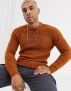 Jack & Jones – Originals – Orange tröja av tovad ull med rund halsring...